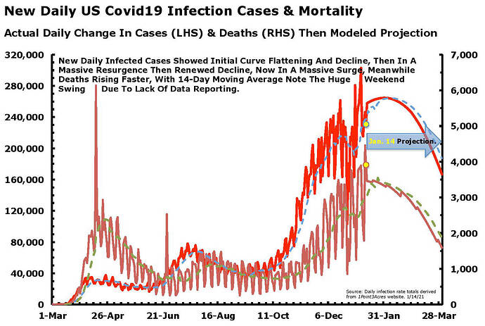 Daily New Cases - Deaths Bell Shaped Curve Jan 14.21