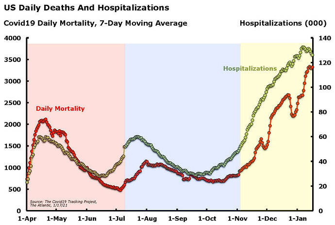 Covid19 Deaths and Hospitalizations Jan. 17.21